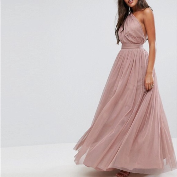 ebac14688a8 ASOS PREMIUM Tulle One Shoulder Maxi Dress Mink